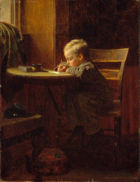 Owen Send Off 04 Writing to father in war. Eastman Johnson 1863.