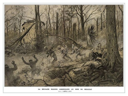 Owen Send Off 10 American Marines in Belleau Wood 1918 by Georges Scott.
